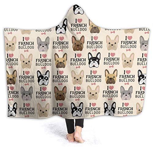 I Love French Bulldog Hoodie Blanket Wearable Throw Blankets for Couch Blanket Hooded for Baby Kids Men Women