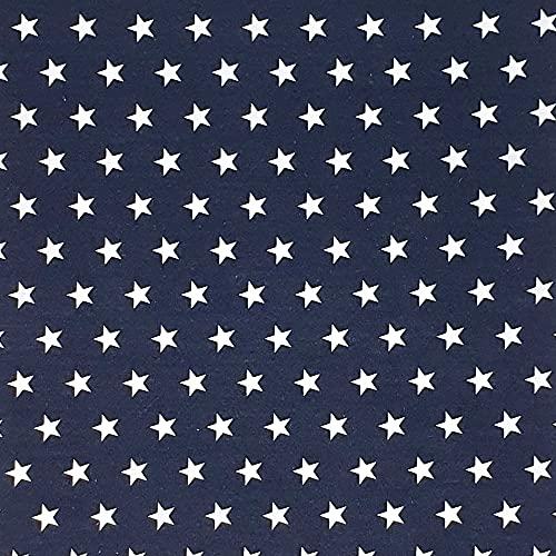 Sugarapple Stoff wasserabweisend, wasserdicht | Meterware Baumwolle beschichtet | Wachstuch | 1 Stück Größe ca. 50 cm x 155 cm | TOP Qualität zum Nähen | Dunkelblau mit weißen Sternen