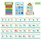 15pcs Alphabet Bulletin Board Posters Set- 12pcs 17' x 6' White Alphabet Number Posters+ 3pcs 13' x 9' Educational Weather Days Seasons Posters Early Learning Charts for Toddlers Kindergarten Kids