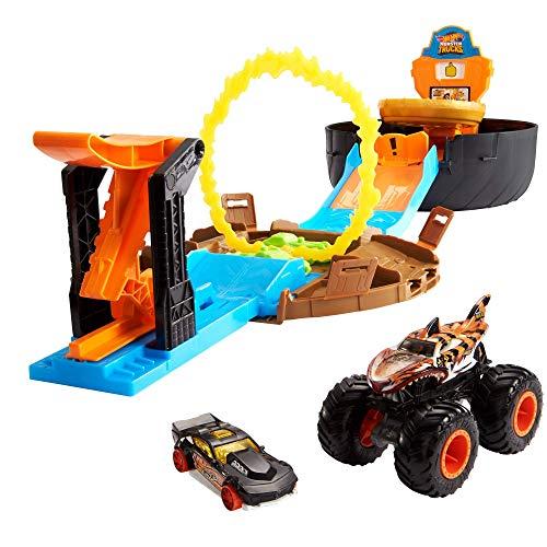 Hot Wheels Monster Trucks Arena delle Acrobazie con Lanciatore Doppio con 2Veicoli Inclusi,Giocattolo per Bambini 3+Anni, GVK48