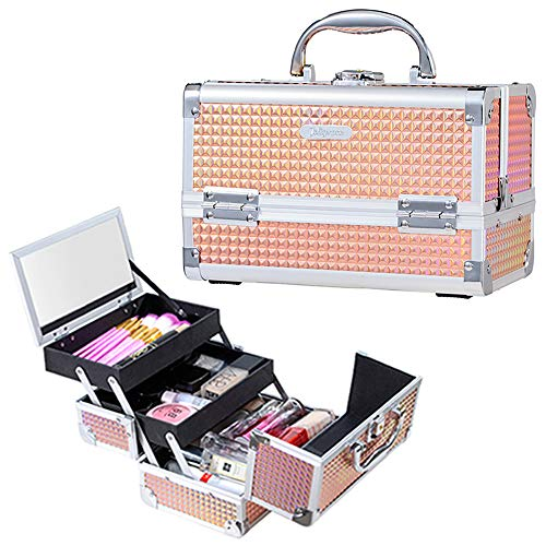 Joligrace Makeup Box Cosmetic Train Case Jewelry Organizer Lockable with Keys and Mirror 2-Tier Tray Portable Carrying with Handle Travel Storage Box
