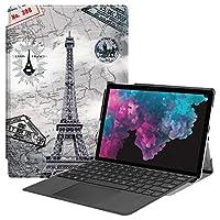 タブレットPCケース レトロタワーパターンカラーペイントされた水平フリップPUレザーケース(Microsoft Surface Pro 4/5/6 12.3インチ用)、ホルダー&ペンスロット付き バックケースカバー