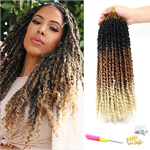 7 Packs Pre-twisted Passion Twist Ombre Crochet Hair Water Wave Crochet Braids for Passion Twist Hair Bohemian Synthetic Braiding Hair Pre-looped Passion Twist Hair (16 inch 7 Pcs, Black Brown Blonde)