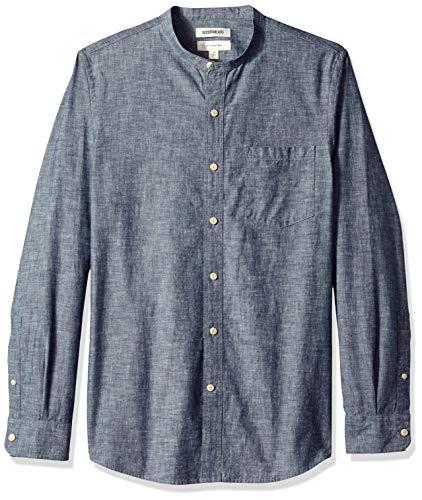 Goodthreads Men's Slim-Fit Long-Sleeve Band-Collar Chambray Shirt, -navy, Medium