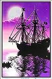 Moonlit Pirate Ghost Ship Blacklight Poster - Flocked - 23' x 35'