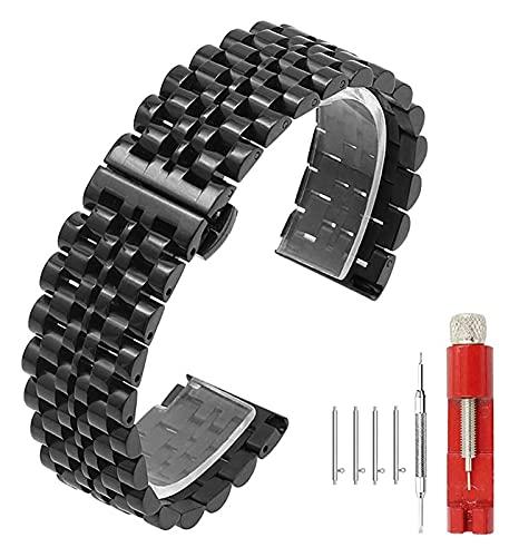 Wensong 5 Colores for la Correa de Reloj Flexible Pulido 7 Filas 20 mm 22 mm Banda de Reloj de Acero Inoxidable de Acero Inoxidable Reloj rápido Reloj de Metal Pulsera de implementación Cierre