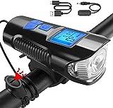 Luz Bicicleta Recargable USB, Faro Impermeable para LED Bicicleta con Velocímetro Multifunción y Bocina, con 2400 Lúmenes 4 Modos, Luz LED Bicicleta para Carretera y Montaña-Seguridad para la Noche