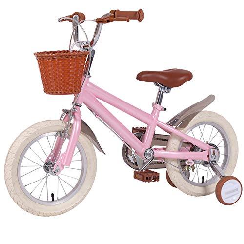 DREAMyun Bicicletta per Bambini Ragazza Ragazzo 3-12 Anni Freestyle BMX 14 16 18 20 Pollici Bicicletta Bambini con Le Ruote Bici per Bambini,Rosa,16'