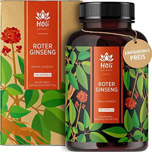 Holi Natural® Roter Panax Ginseng Extrakt (10:1) | 120 Kapseln vegan | 1200mg je Tagesdosis | 20% Ginsenoside | Echter koreanischer Ginseng C.A. Meyer