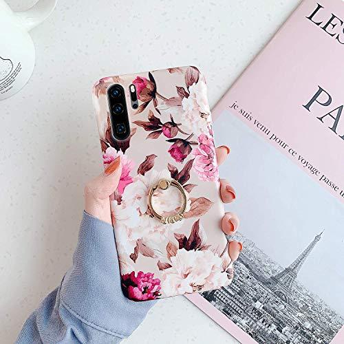 Herbests Kompatibel mit Huawei P30 Pro Hülle mit Ring Halter Ständer Handyhülle Blumen Blätter Muster Silikon Schutzhülle Crystal Case Ultradünn Stoßfest Rückschale Tasche,Blumen Rose