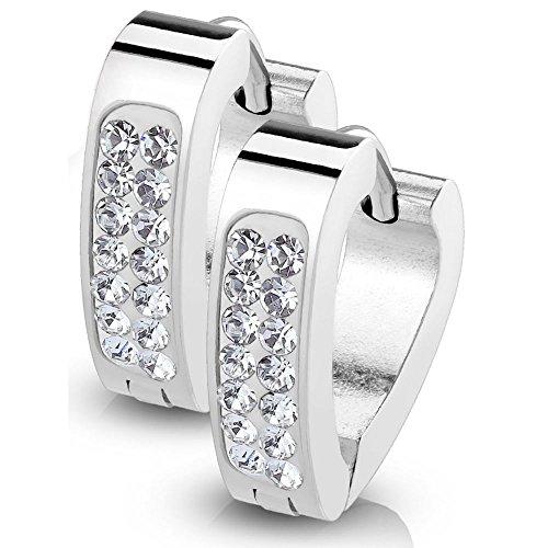 bungsa i Triangular acero inoxidable Huggies Pendientes de plata para las mujeres y los hombres