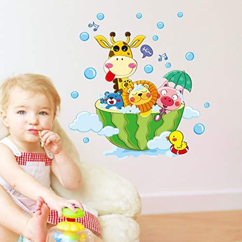Cartoon dieren in het bad muur Sticker voor kinderen babykamers badkamer huisdecoratie stickers behang douche muur Stickers