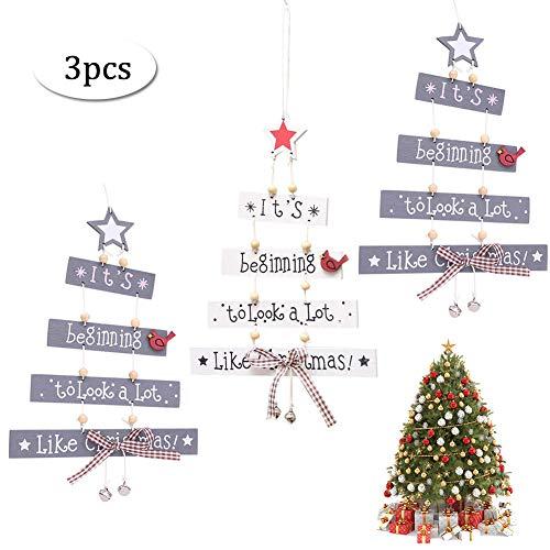 Carta de Navidad Colgantes de Madera, Árbol de Navidad Ornamentos de Cartas Creativas Forma de árbol Letra Campana Arco Colgante Puerta Inicio Navidad Fiesta Pared Decoración Colgante - Blanco gris