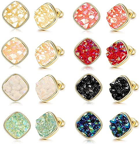 YADOCA 8 Pares de Pendientes Cuadrados de Resina de Imitación de Piedra Druzy para Mujeres y Hombres Pendientes de Moda Chapados en Oro Joyería 10MM