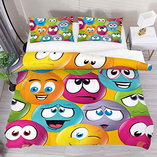 HARXISE Cartoon Emoticon Cute Funny Colorful Bedding Duvet Cover 3 Piece Set - Ultra Soft Double Microfiber Comforter Cover with Zipper Closure and 2 Pillow Sham