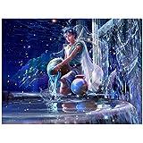 Kit de pintura de diamantes 5D Los signos del zodíaco chino Acuario 5D diamond painting bordado cuadros punto de cruz manualidades para decoración de la pared del hogar 45x60cm F3137