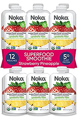 NOKA Superfood Smoothie Pouches (Strawberry Pineapple) 12 Pack, 100% Organic Healthy Fruit Squeeze Snack Packs, Meal Replacement, Non GMO, Gluten Free, Vegan, 5g Plant Protein, 4.2oz Each