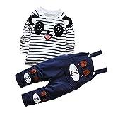 De feuilles Chic-Chic Ensemble Salopette avec Haut Longues Manches Bébé Garçon Fille Panda Rayure Haut T-Shirt Mignon 3-4ans Navy