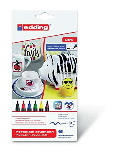 Porzellan-Pinselstift edding 4200, 6er-Set, 1-4 mm, family colour Set