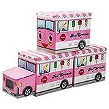 Yorbay Caja de Almacenamiento para niños de Juguetes Plegable con Tapa, Taburete Infantil, Plegable, para niños y niñas (Rosa/Carrito de Helados)