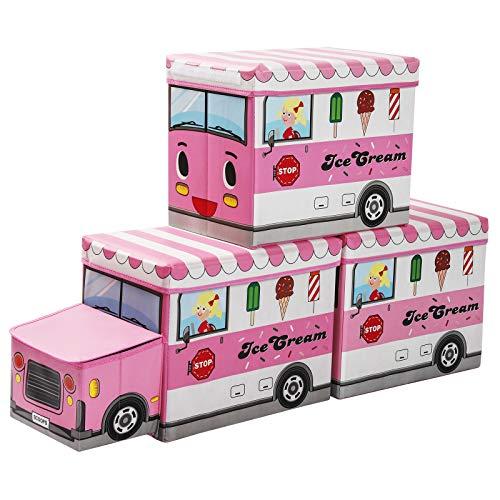 Yorbay 3er Set Kinder Aufbewahrungsbox Spielzeugkiste mit Deckel hocker Sitztruhe Sitzbank mit stauraum für Kinderzimmer, Eiswagen
