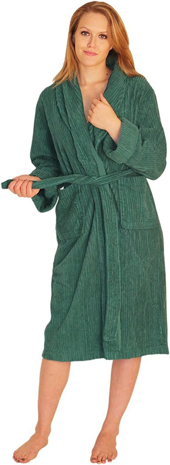 NDK New York Women's Chenille Robe Mid Calf Length 100% Cotton Shawl Collar