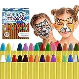 ACWOO Pintura de Cara para Niños, 28 Colores Seguridad No Tóxica Pintura Facial, Crayones de Maquillaje Ideal para Halloween Navidad Cosplay Fiesta y Party