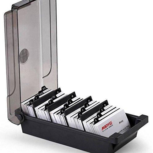 LQZ(TM) Visitenkartenhalter Visitenkartenbox Karteibox Aufbewahrung Organizer aus Kunststoff inkl. Register-Karten