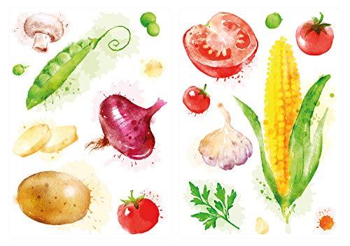 dekodino® Wandtattoo Küche Set Aquarell Gemüse Mais Tomate Zwiebel Wandsticker