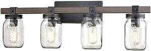 CLAXY Glass Mason Jar Wall Sconces Distressed Wooden & Metal 4 Light Bath Vanity Lights