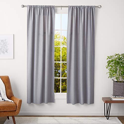 AmazonBasics – Barra de cortina con terminales redondeados, 3cm de diámetro, longitud ajustable de 91 a 183cm, níquel