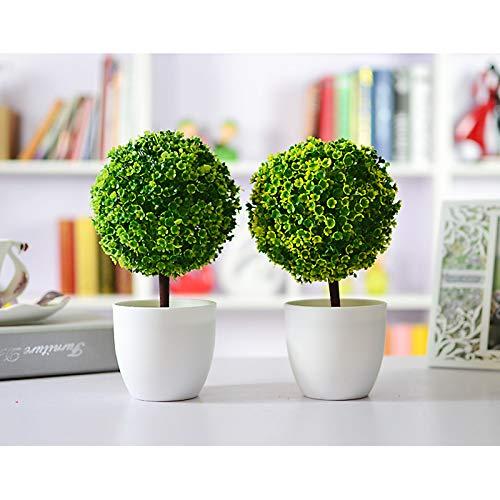 Fansi Unechte Grüne Topfpflanze Künstliche Deko Blume Kunststoff TopfPflanzen Kreativer Miniball vergossen Draussen Balkon Topf Hochzeit Garten Dekoration - 2
