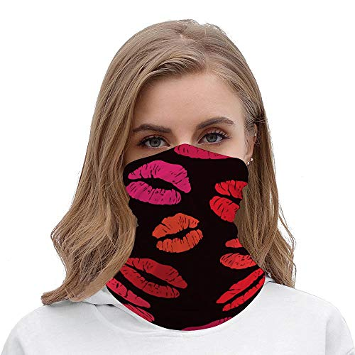 Yilooom Seamless Face Mask Bandanas, Unisex Face Scarf for Outdoor Dust Wind Sun Protection, Sexy Red Lip Print