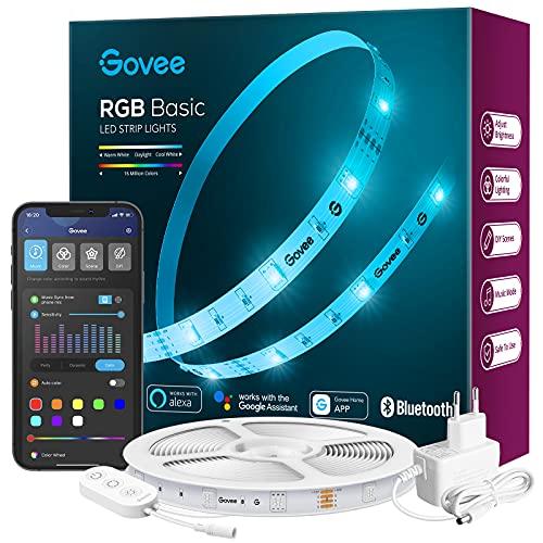 Govee LED Strip 5m Alexa Smart RGB WiFi LED Streifen, LED Lichterkette Band App Steuerung WLAN mit Alexa und Google Assistant, Musik Sync Farbwechsel DIY Deko für Schlafzimmer Küche Wohnzimmer 5m