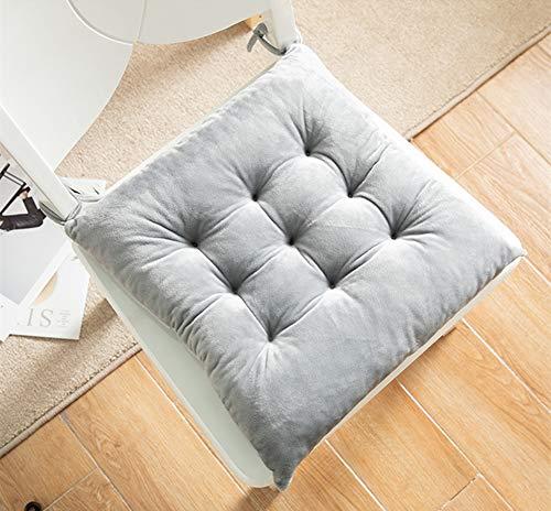 Martin Kench - Juego de 2 cojines de asiento de terciopelo, para jardín, balcón o terraza, gris, 35 x 35 cm