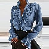 Camisa De Mujer Elegante Blusa De Oficina para Dama Camisa Vintage con Cuello En V Volantes Blusas con Botones De Mujer Otoño Manga Larga Estampado De Lunares-04_Blue_L