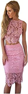 Womens 2 Piece Lace Crop Top and Skirt Set Outfits Bodycon Midi Dress