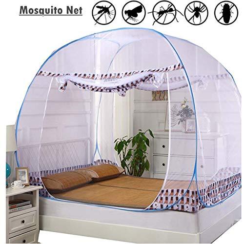 Yangm muggennet bed, overkapping, opvouwbaar insectennet met onderkant, verdikte beugel, romantische eenvoudige installatie, geen chemicaliën, 100% polyester