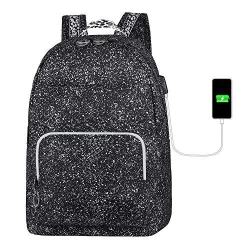 TIBES Schulrucksack College High School Student Rucksack Fashion wasserdichte Schultasche mit USB-Ladeanschluss für Mädchen und Jungen