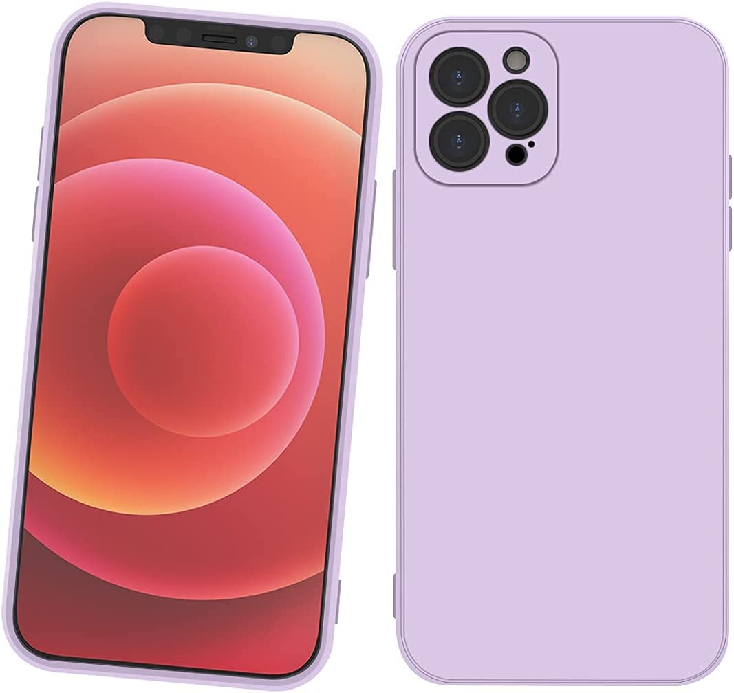 Purple iPhone 12 Case - Shockproof Slim Fit Silicone TPU Soft Rubber Cover Protective red Bumper for iPhone 12 red, Case for Apple iPhone 12 for Boys Girls Woman Man{6.1inch} (Purple)