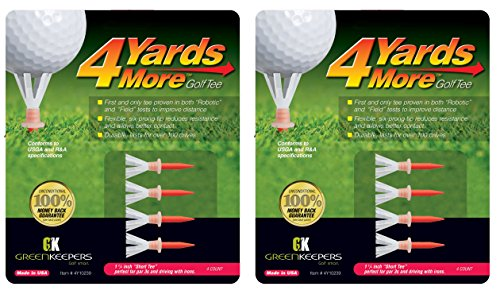 """4 Yards More Golf Tees - Red 1 3/4"""" Short Tee (2 Count)"""
