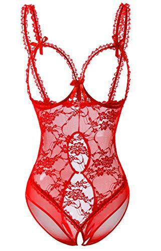 Acramy Damen Reizwäsche Body Offener Schritt Große Größen Dessous Ouvert (XXL, Rot)