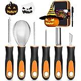 Halloween Pumpkin Carving Kit, 6 Pcs Pumpkin Carving Knife with 12 Stencils 1 Mark Pen 1 Storage...