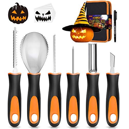 Halloween Pumpkin Carving Kit, 6 Pcs Pumpkin Carving Knife with 12 Stencils 1 Mark Pen 1 Storage Bag, Professional Pumpkin Carving Tools
