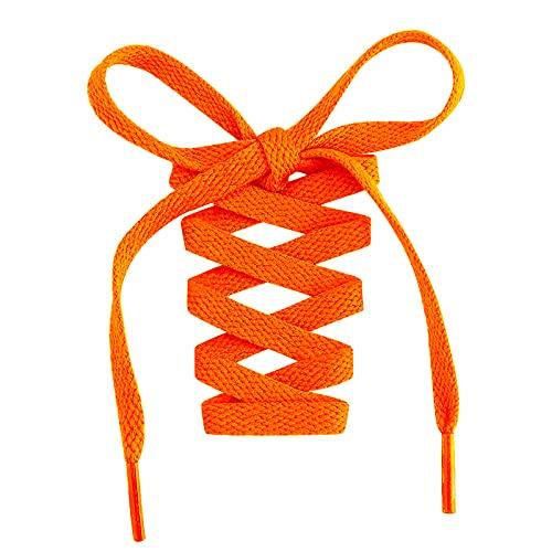 Stepace 2 Paar Flache Schnürsenkel, 8 mm Breite Premium Ersatz Schuhbänder für Turnschuhe, Sport, Freizeitschuhe Orange 160cm