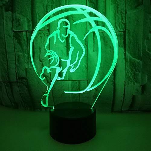 3D Lampe Illusion Optique LED Veilleuse 7 Couleurs Tactile Lampe de Chevet Chambre Table Art Déco Enfant Lumière de Nuit avec Câble USB Nouveauté De Noël Cadeau d'anniversaire Jouer Au Basket