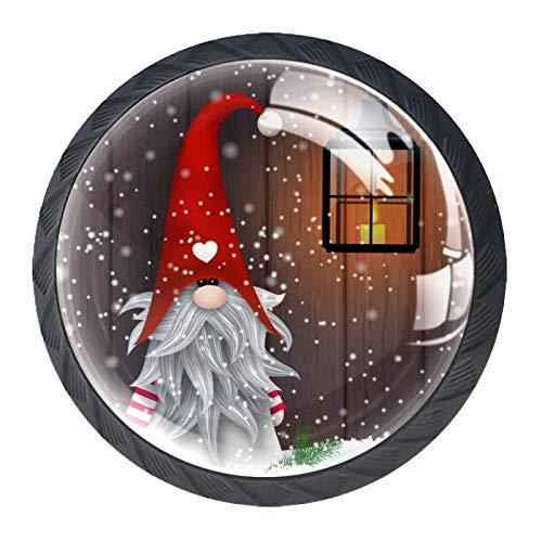 Tirador de manijas de cajón Perillas decorativas del gabinete del cajón Manija del cajón del tocador 4 piezas,navidad folklore duendes gnomo