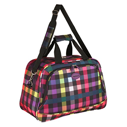 Highbury Lightweight Cabin Sized Approved Hand Luggage / Flight Bag / Travel Bag / Over Night Bag (Multi-Colour Checked)