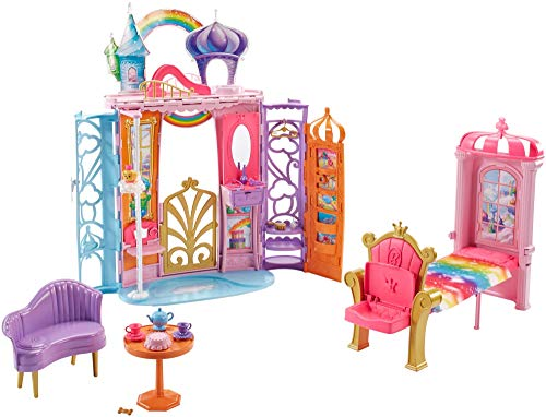 ​Barbie Dreamtopia Rainbow Cove Castle, Portable Playset with Handle, Puppy Figure, Transforming Features \& 10+ Accessories