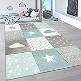 Paco Home Kinderteppich, Kinderzimmer Pastell Teppich mit 3D Wolken u. Stern Motiven, Grösse:120x170 cm, Farbe:Blau 3